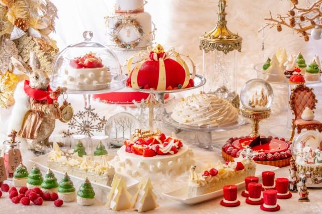 アリスがいざなうクリスマスの魔法の世界! ヒルトン東京のデザートビュッフェは白と赤で彩られたロマンティックなムードです