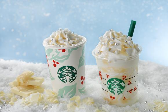 スタバ新作は真っ白な雪みたいな「ホワイト チョコレート スノー フラペチーノ」♪ ホワイトクリスマスをイメージしてるんだって