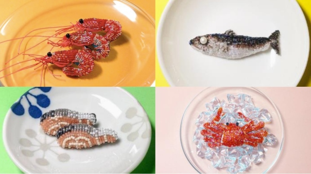 これが「ビーズ刺しゅう」って信じられる!? リアルで可愛くて美味しそうな魚介系ビーズ作品がスゴ過ぎるのです