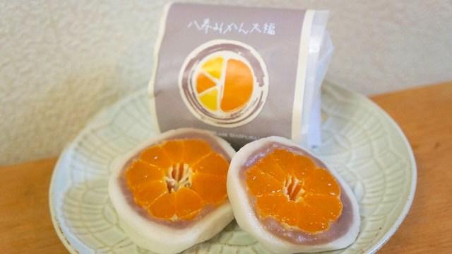 愛媛県の「八寿みかん大福」はみかんが丸ごと入った大福! 食べた瞬間笑顔になっちゃう美味しさです #買って応援