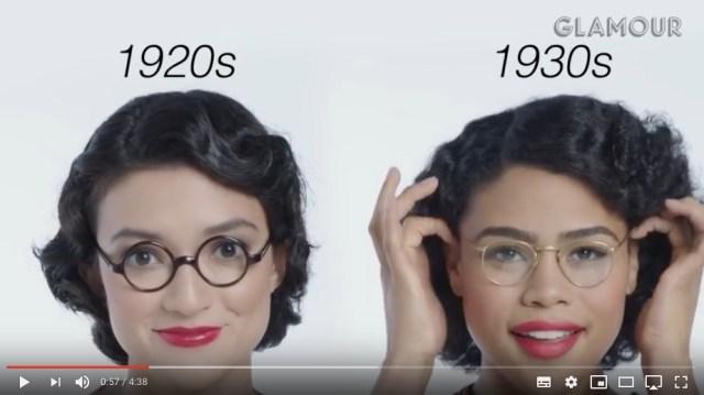 「メガネの100年」を振り返る動画がおもしろい! 鼻メガネ・キャットアイ・ビッグフレームとどの年代もおしゃれです