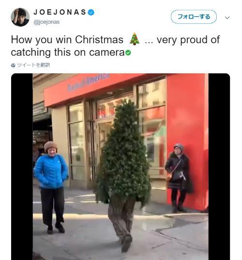 【怪奇】街中を歩く「クリスマスツリー」の姿が目撃される…! 葉っぱの具合も服の色も完璧すぎます