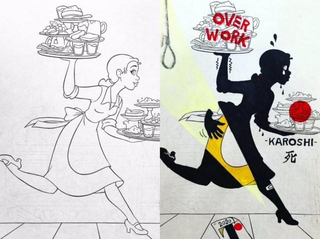 ファンシーな「塗り絵」をシュールでダークな世界観に描き替える! アーティスト「shiki」の作品に釘付けになる…