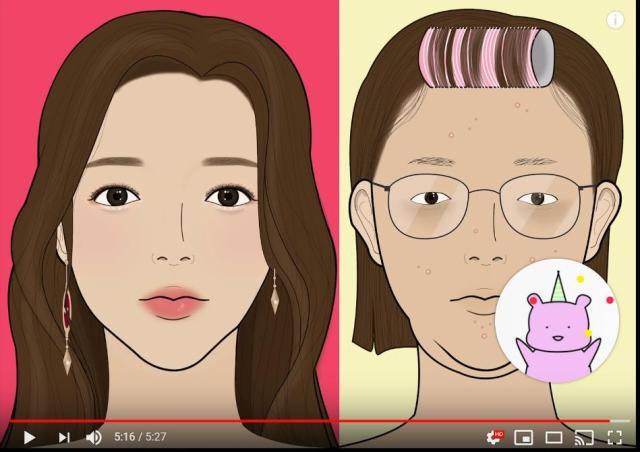 【謎の中毒性】韓国のメイクアニメーションが大人気! 地味顔から韓国美女になる過程を丁寧に描いています