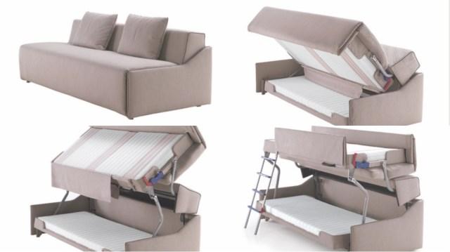 二段ベッドになるソファベッドが画期的! シートを持ちあげてくるっと一回転させればできあがりです★