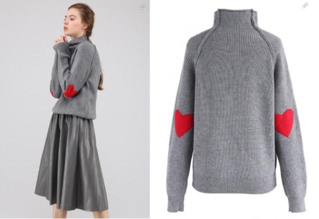 肘にハートマークがあしらわれたオトナ可愛いセーターを発見♡ 彼の心を狙い撃ちできるかも!?