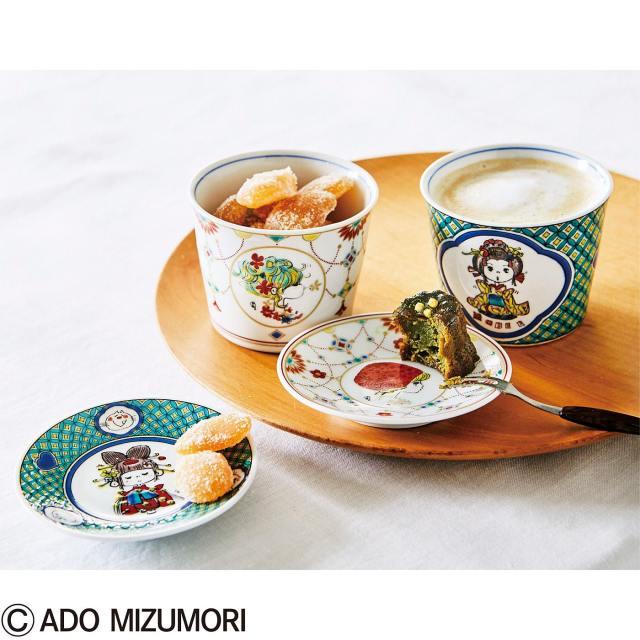 【レア】着物姿の水森亜土ちゃんイラストが新鮮! 九谷焼とコラボした豆皿&そば猪口セットが和風モダンで可愛いです