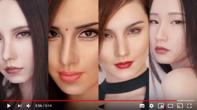 【整形ナシ】世界の美女4人にメイクだけで変身! ティッシュなどを使い骨格まで変えちゃう天照イヴさんの神業をご覧あれ