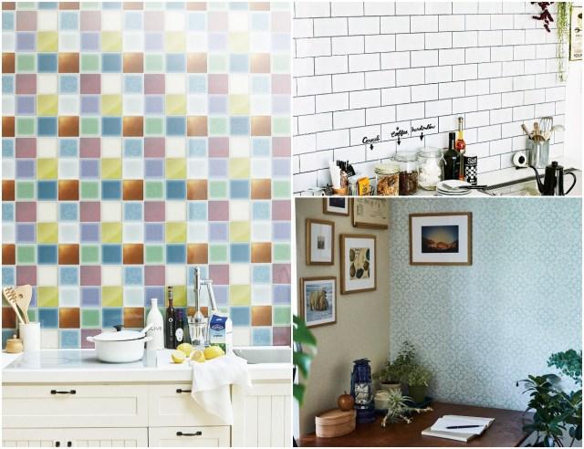 簡単に家をイメチェンするなら「貼ってはがせる壁紙シール」がオススメ! シンプルからカラフルまで色んなタイルが揃っているよ♪