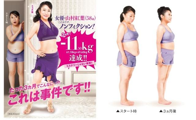 【スゴイ】山村紅葉が58歳で11.50キロのダイエットに成功! 体重日記や食事法など今すぐ真似できそうなポイントがあったよ
