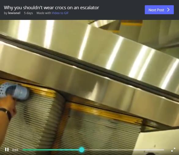 【必見動画】クロックスでエスカレーターに乗るときは注意が必要! 端すれすれにいると巻き込まれてしまう可能性も