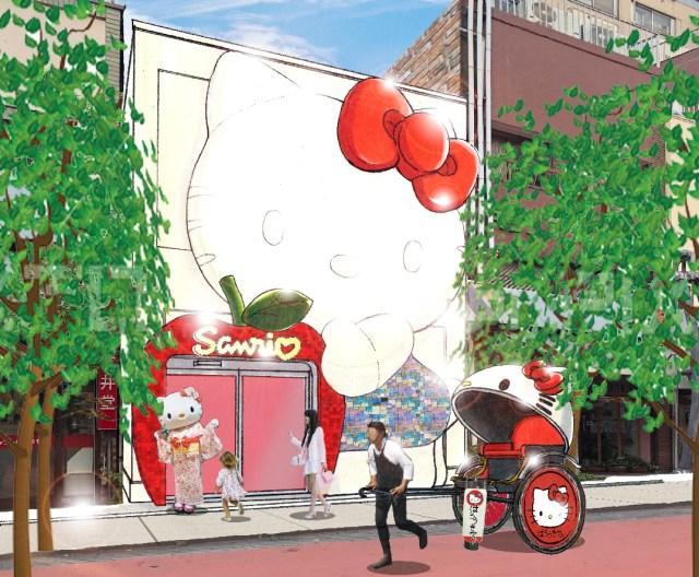 浅草にキティさんのお顔がドーンとデザインされたサンリオの店がオープン! キティデザインの人力車も街を走るよ