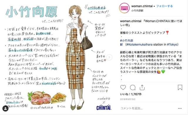 ローカルな駅がバンバン出てくる!その街に住む女の子をイメージした「Woman.CHINTAI」のファッションイラストが最高に可愛いっ♡