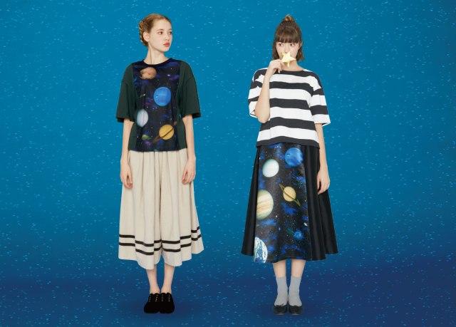 宇宙プリントの古着風Tシャツとフレアースカートがインパクト抜群~ッ!! ちゃんと乙女らしさもあって可愛く着れそうよ!