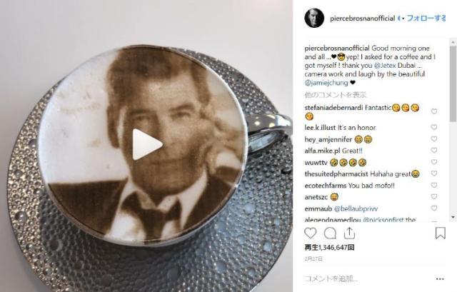 イケメンタイムの時間だよ♪ 5代目ジェームズ・ボンドの「ピアース・ブロスナン」が自画像ラテを飲む動画がかわいい…