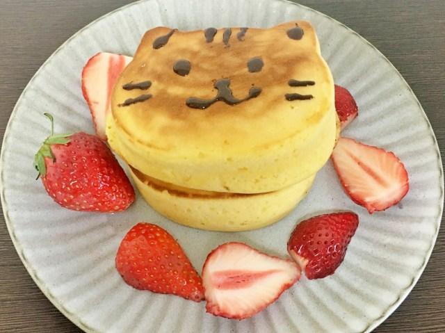 """【100均】""""猫の厚焼パンケーキが作れるシリコン型""""を発見! 悶絶級にフワフワでかわいいパンケーキが超簡単に焼けたでござる♡"""