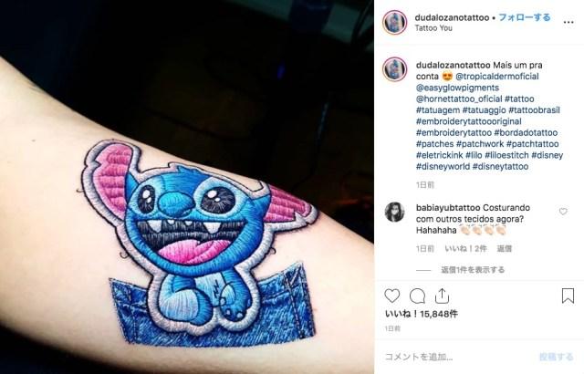 スゴ腕タトゥー師による「ワッペンみたいなタトゥー」が斬新! 本当に縫いつけられてるみたいに見える…!