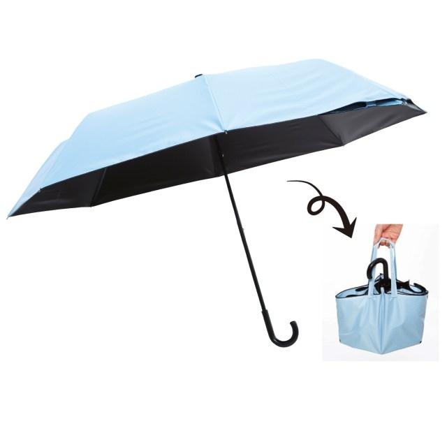 フェリシモの「バッグに早変わりする折りたたみ傘」が地味に便利! くるっとひっくり返すだけで濡れた傘を収納できるよ