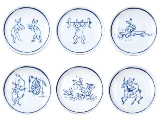 鳥獣戯画の世界にもオリンピックが…!? ウサギがボクシングやアーチェリーに励む「競獣戯画小皿」がププッと笑える可愛さです