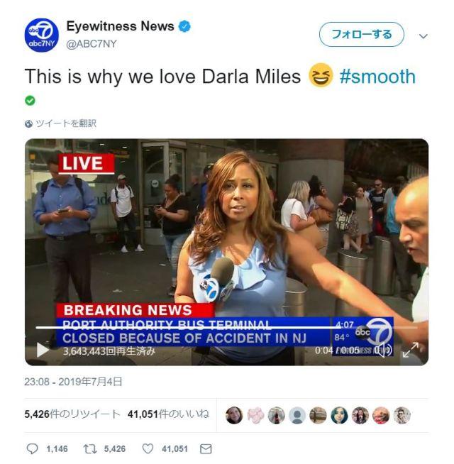 ニュース番組の中継中にカメラの前を横切ろうとする人が…! レポーターの取った行動がネットで超話題です