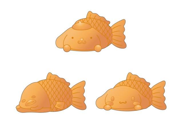 「セガのたい焼き」がポムポムプリン、シナモロール、ぐでたまとコラボ中! 顔はサンリオキャラ、体は魚になっています