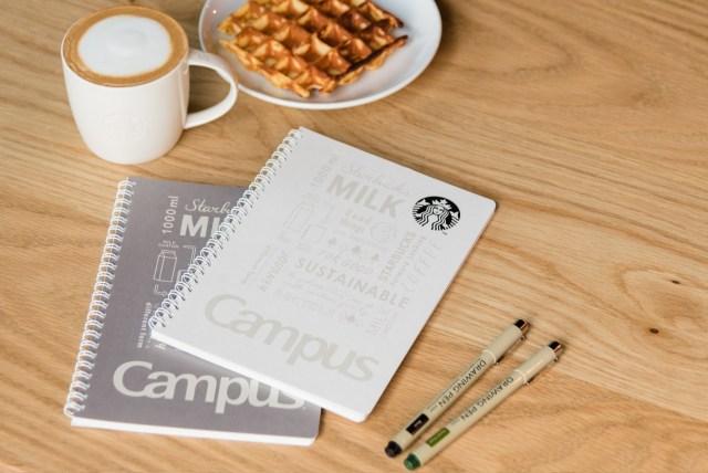 スタバ × コクヨがコラボしたキャンパスノートが発売! ミルクパックをリサイクルした素材で作られてるよ