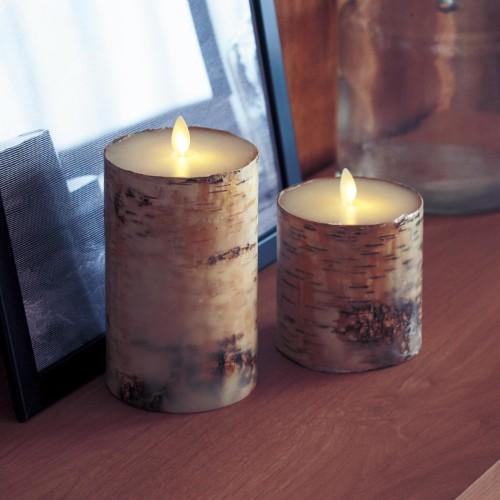 本物の樹皮を使った「白樺のLEDキャンドルライト」に癒やされる~♡ やさしい灯りに癒やされます