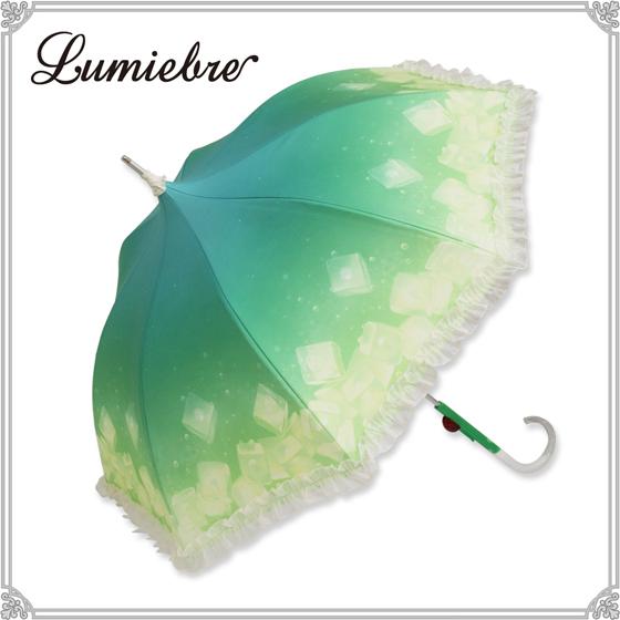 メロンクリームソーダをイメージした傘が乙女カワイイ♡ 持ち手にはチェリーもワンポイントでついてます