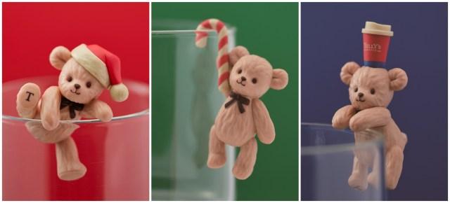 タリーズのベアフルがコップのふちに舞い降りた! 全3種類のクリスマスベアフルが可愛すぎるのです♪