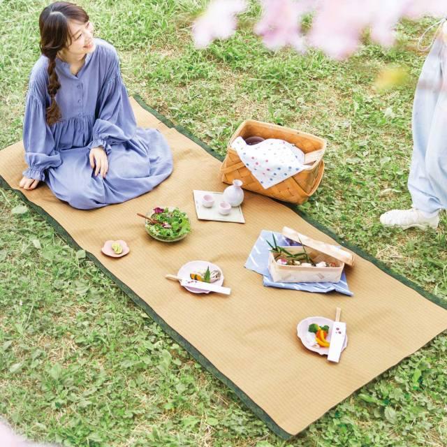 平安貴族の宴か! リアルにプリントされた「畳柄のレジャーシート」が敷くだけで風流な気分に浸れそう
