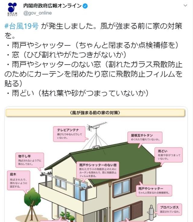 【防災】大型の台風19号が接近中…「家屋の事前チェックリスト」を内閣府が公開しています