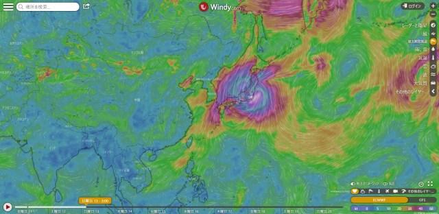【台風対策】台風19号の勢力を知るなら風予報サイト「WINDY」が便利! 風の流れや雨の強さなどが一目でわかります
