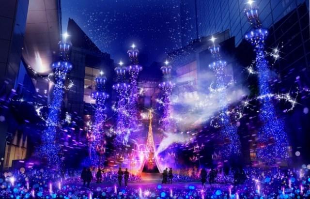 ディズニー映画『アラジン』の世界観をイメージしたイルミネーションが登場! カレッタ汐留がアラジン一色に染まるよ~