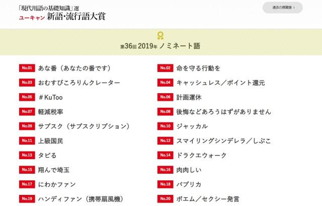 【2019年版】新語・流行語大賞のノミネート語が発表されたよ~! 「タピる」「令和」のほかラグビーワールドカップ関連が4つも!