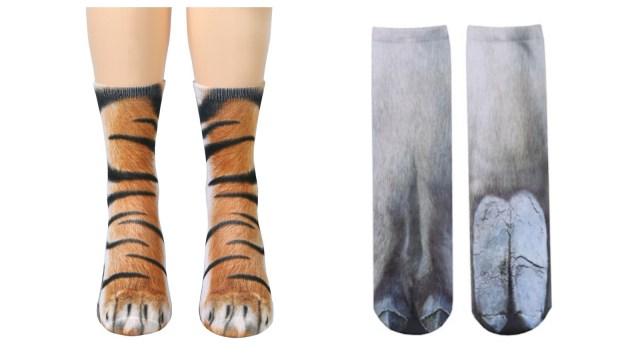 リアルな動物の足をそのまんま靴下に! ゾウ、馬、トラなどどれも派手可愛いのです♪