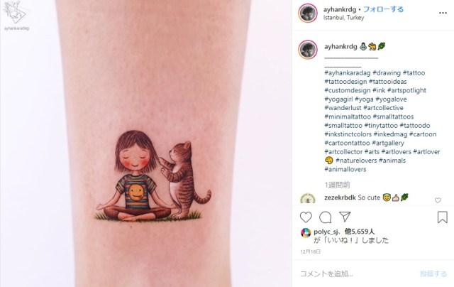 タトゥーのいかついイメージが覆されるかも!? 絵本のひとコマのような優しくかわいい世界観にほんわかしちゃいます