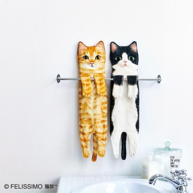 猫が長~く伸びる姿を再現したタオルがかわいすぎ! 手をふくたび猫を撫でている気分になれるよ