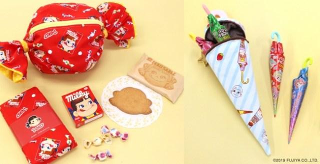 不二家のお菓子がデザインされた「布」がかわいい! ペコちゃんやミルキーがポップな柄になっているよ