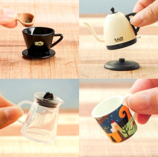 カルディのオリジナルコーヒー豆を買うと「ミニフィギュア」がもらえる! ちっちゃなポットやマグカップなど