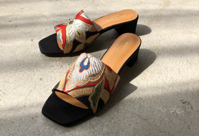 80年代の着物の帯を使って仕立てたサンダルが美しい…日本の伝統文化と現代のトレンドが絶妙に融合しています