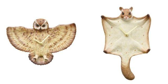 ワシミミズクとムササビの壁掛け時計が細部までリアル! ファサーッと翼を広げている姿がユーモラスです