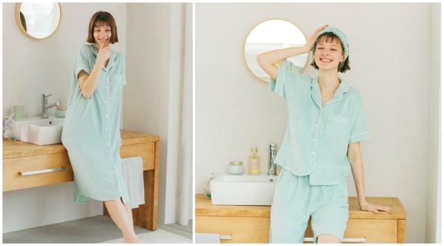 GUのミント成分入りパジャマがひんやり涼しそう♡ ボディケアブランドSABONとのコラボアイテムだよ