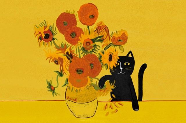 ゴッホやクリムトの絵に猫が紛れ込んでる!? 名画と猫を組み合わせたパロディアート作品がかわいい♡