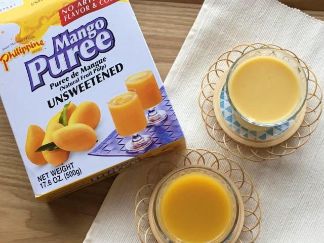 カルディで売ってる「マンゴーピューレ」が最強すぎっ!! マンゴージュースとマンゴーラッシーがいとも簡単につくれちゃうよ◎