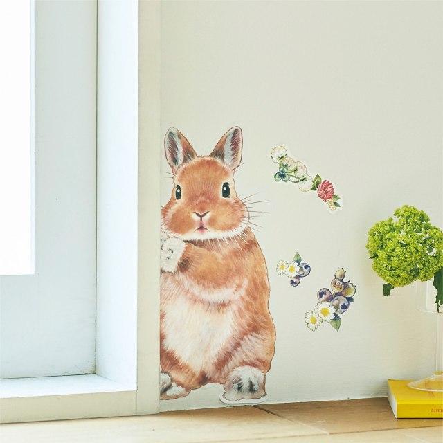ウサギが壁からひょっこり覗いてるぅー!  貼れば一瞬で癒やされちゃうウォールシールに心がとろけたよ