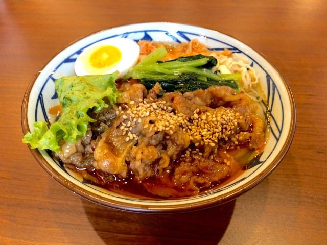 【激辛レポ】丸亀製麺「辛辛牛焼肉冷麺」は冷たくて辛旨さが絶品!キムチと熱々の焼肉のトッピングが食欲をそそる美味しさだよ