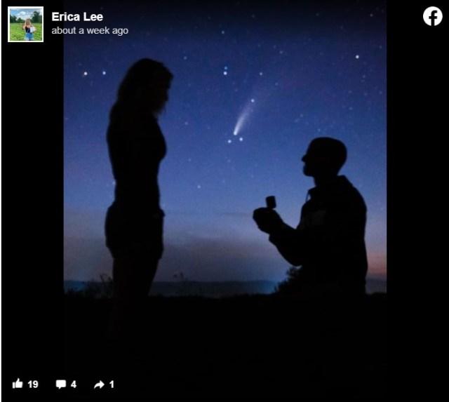 5000年に1度の「ネオワイズ彗星」の下でプロポーズ! 超ロマンチックな写真に世界中がうっとり