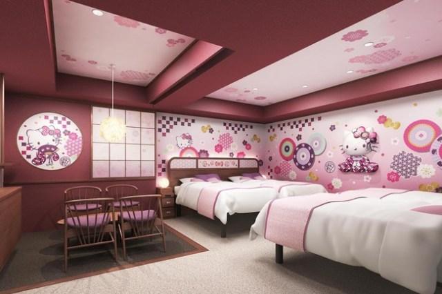 東京・浅草のホテルに「ハローキティルーム」が登場! 和風におめかししたキティさんが出迎えてくれるよ~!