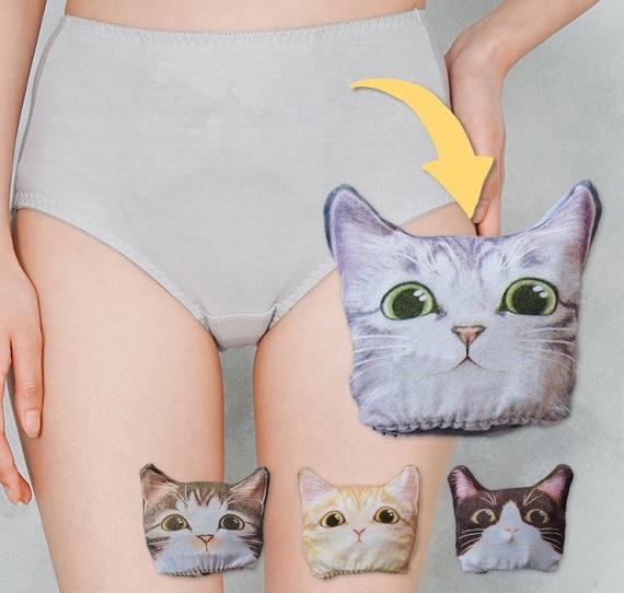 """えっ! パンツをたたむと猫ちゃんの顔になる…!?  ニャンとも不思議で便利な""""ポケット付きパンツ""""がフェリシモ猫部に登場だよ"""