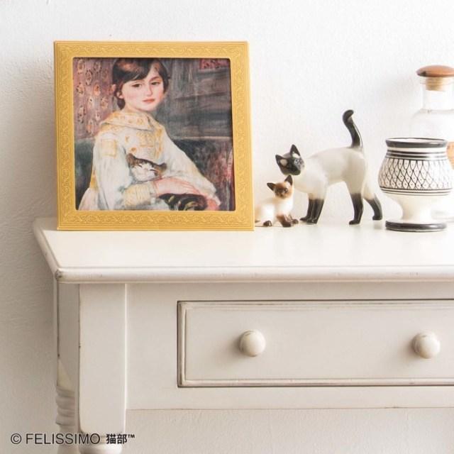 ネコ×西洋名画モチーフの「アートハンカチコレクション」が美しい…フレーム付きだからお部屋に飾れるよ~!